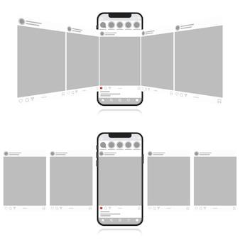 Social media design-konzept auf einem weißen hintergrund. smartphone mit karussellschnittstellenbeitrag im sozialen netzwerk. moderner flacher stil
