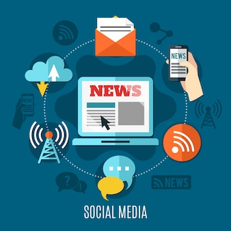Social media design konzept satz laptop mit nachrichten informationen auf bildschirm mail chat wlan und cloud dekorative symbole flache illustration