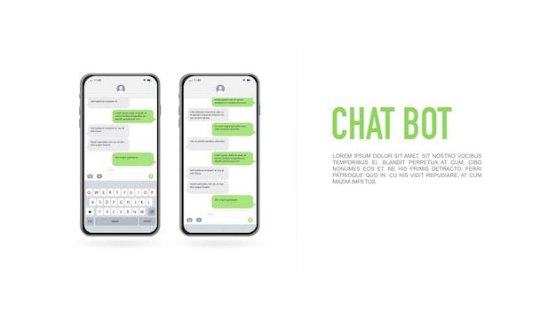 Social-media-design-konzept smartphone mit messenger-chat-bildschirm im karussell-stil sms-vorlagenblasen zum verfassen von dialogen chatbot-anwendung mit dialogfenster