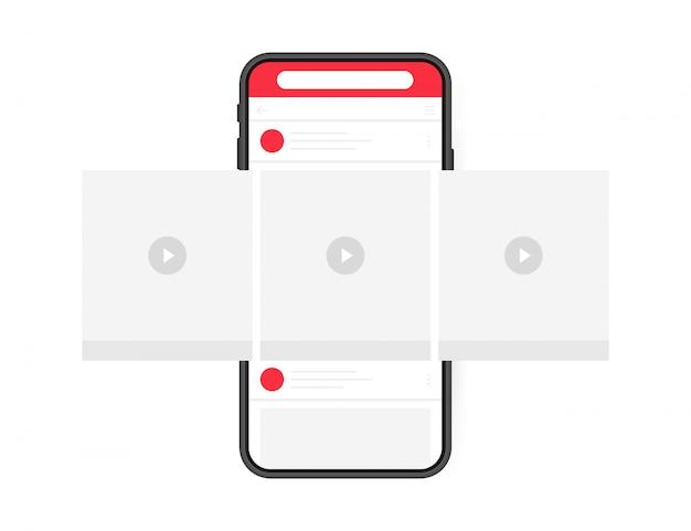 Social media design-konzept. smartphone-videoplayer mit schnittstellenkarussell im sozialen netzwerk. moderner flacher stil