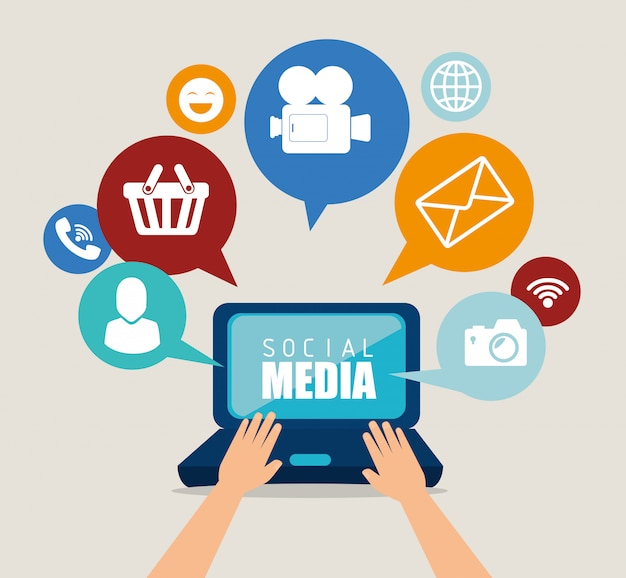 Social media-design mit multimedia-ikonen