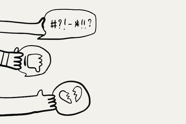 Social-media-doodle-vektor, soziales mobbing-konzept