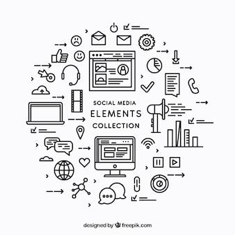 Social Media Elemente Hintergrund