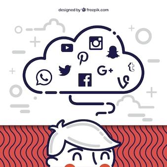 Social media-elemente in einer wolkenform in der flachen art