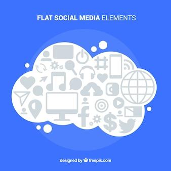 Social-media-elemente in einer wolkenform