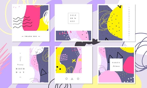 Social media-fahnen- und kartenschablonensammlung in der abstrakten bunten malerei entwerfen.