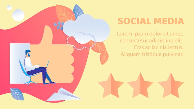 Social media-feedback-flache fahnen-vektor-schablone