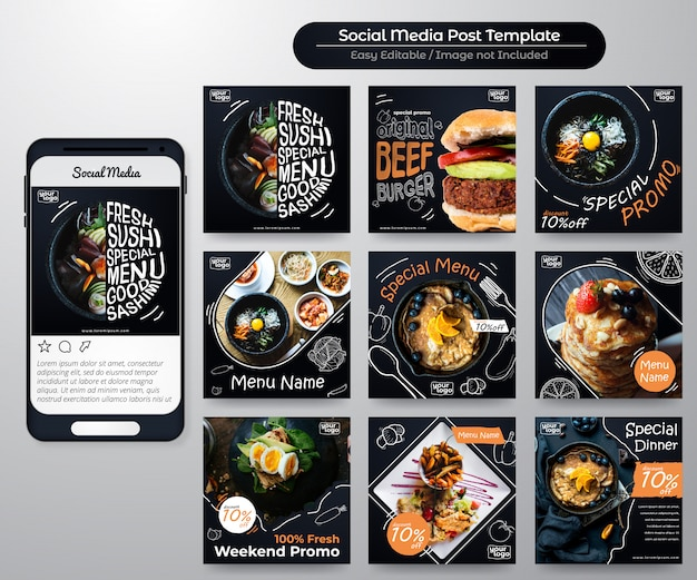 Social media-feedpost für lebensmittelwerbung