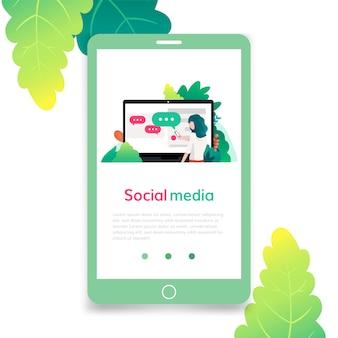 Social media, flache designillustration, für grafik und webdesign. vorlage für zielseite, banner, poster, anzeige oder printmedien.