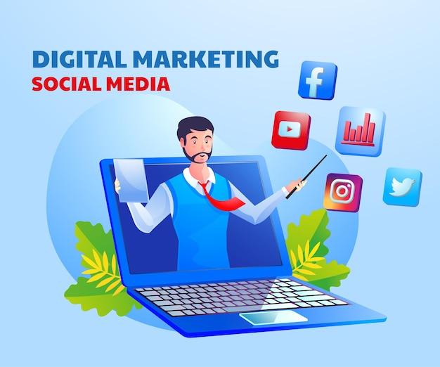 Social media für digitales marketing mit einem mann und einem laptop-symbol