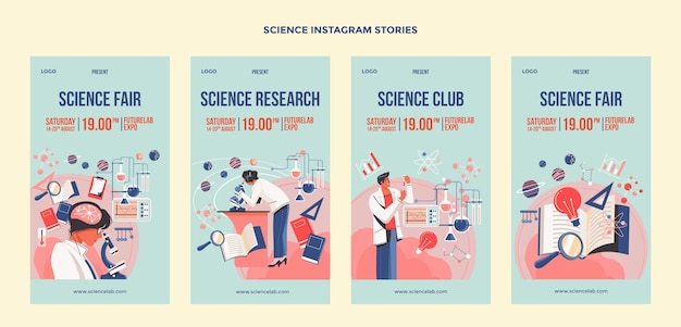 Social-media-geschichten aus der wissenschaft des flachen designs