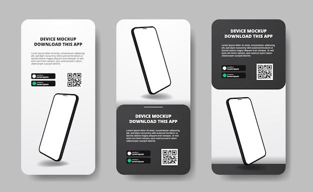 Social-media-geschichten-bannerwerbung zum herunterladen von apps für mobiltelefone, float-smartphones. laden sie schaltflächen mit qr-code-scan-vorlage herunter. telefon mit 3d-perspektive