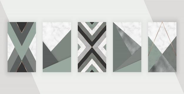 Social media geschichten hintergrund mit geometrischem design. modernes schablonendesign