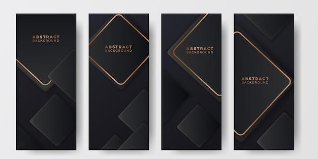 Social-media-geschichten quadratischer geometrischer würfel 3d schwarzer hintergrund luxus-elegante deluxe-präsentation