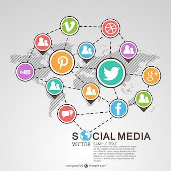 Social-media-globalen system Premium Vektoren
