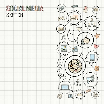 Social media hand draw integrieren symbole auf papier. bunte skizze infografik illustration. verbundenes doodle-piktogramm. internet, digital, marketing, netzwerk, globales interaktives konzept