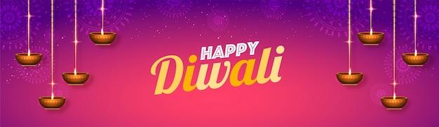 Social media header-layout mit happy diwali text.