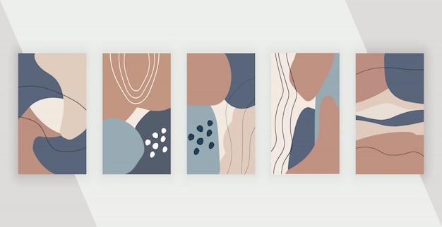 Social media hintergründe mit abstraktem geometrischem design mit handgemalten formen, blättern und linien der farben rosa, braun und blau.