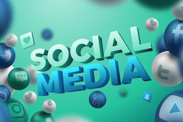 Social media-hintergrund in 3d