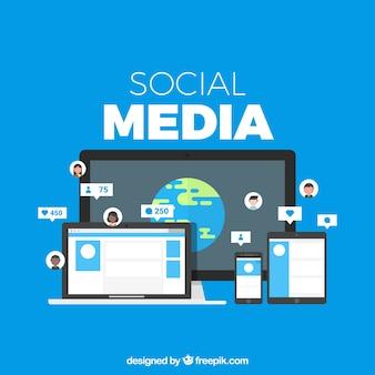 Social media-hintergrund in der flachen art