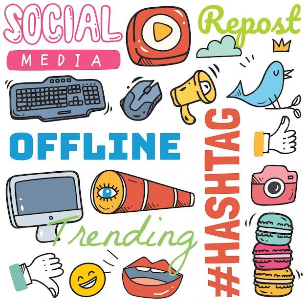 Social media-hintergrund in der gekritzelartillustration
