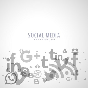 Social-media-hintergrund mit grauen symbolen