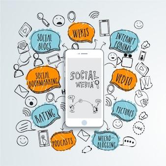 Social-media-hintergrund mit handy und farbigen sprechblasen