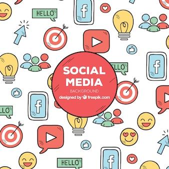 Social media hintergrund mit symbolen
