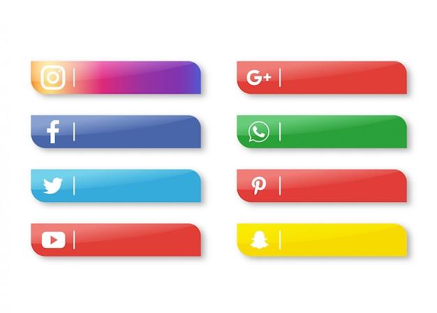 Social media icon banner lokalisiert auf weißem hintergrund.