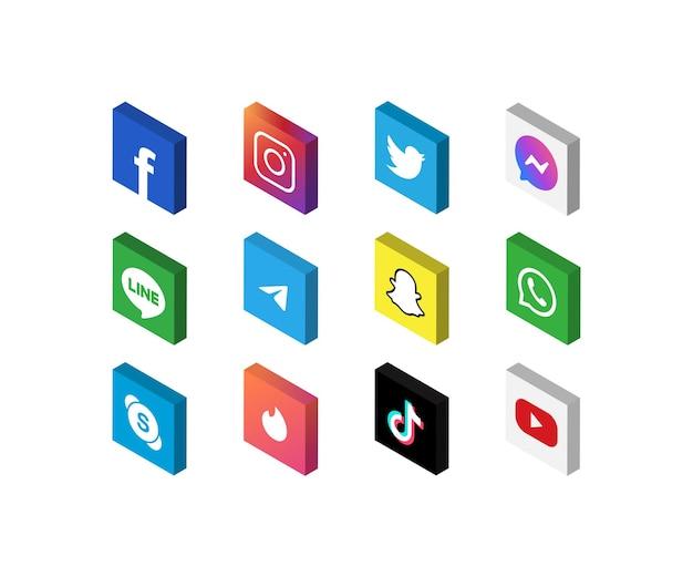 Social-media-icon-set mit isometrischer 3d-ansicht, isolierte symbole auf weißem hintergrund, vektorillustration