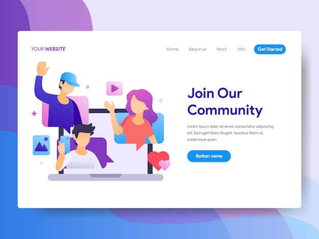 Social media illustration auf der homepage