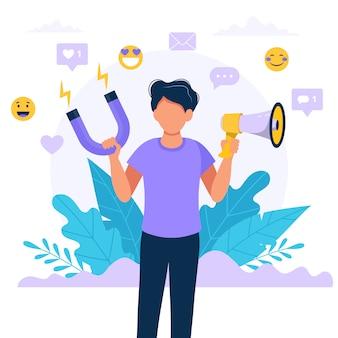 Social media influencer. illustration mit dem mann, der megaphon und magneten hält.