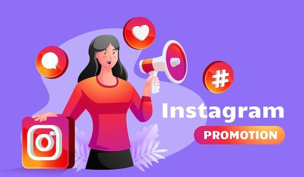Social media influencer illustration mit frau, die megaphon hält, das instagram-konten bewirbt