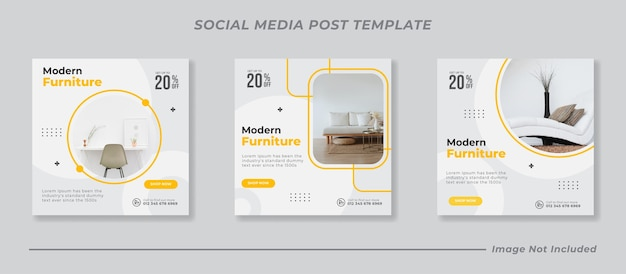Social media instagram feed post möbel verkauf banner vorlage Premium Vektoren
