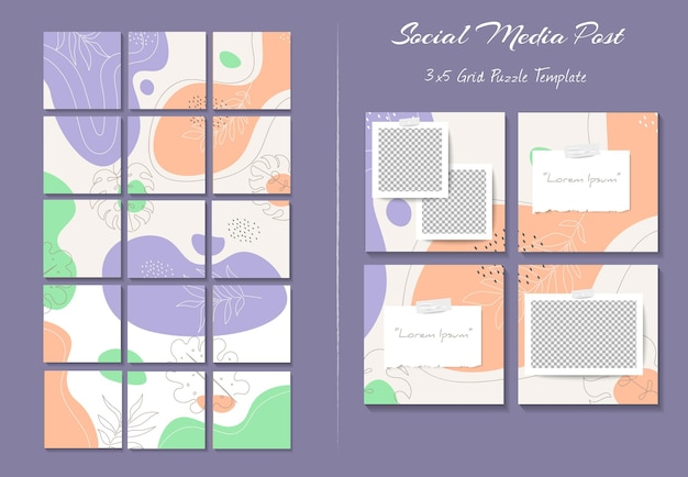Social-media-instagram-feed-post-vorlage im raster-puzzle-stil mit organischem formhintergrund