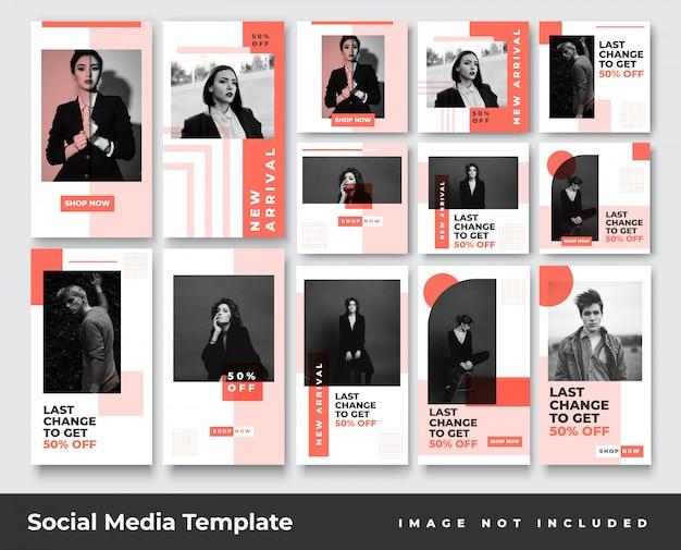 Social-media-instagram-geschichten für minimalistische mode und bundle mit feed-post-bannern