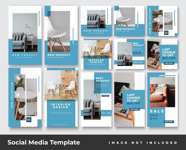 Social media instagram-geschichten und feed-post-banner-bundle