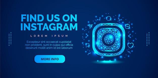 Social media instagram mit blauem hintergrund.