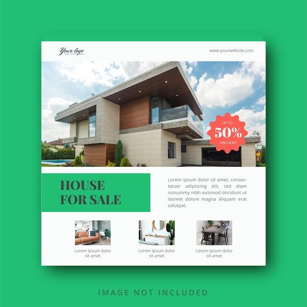 Social-media-instagram-post- und -banner-vorlage für immobilien