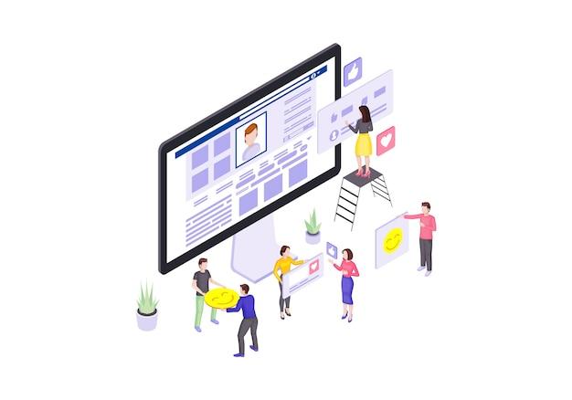 Social media isometrisch. onlinekommunikation. benutzer mag und kommentiert 3d-konzept. smm. ansichten, abonnenten, follower versammeln sich. soziales netzwerk. bloggen. isolierte cliparts