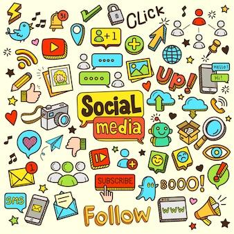 Social media-karikatur-farbgekritzel-illustration
