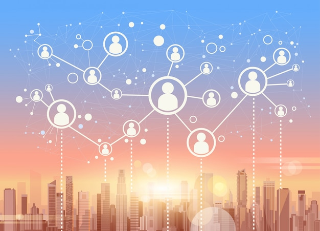 Social media-kommunikations-internet-netzwerk-verbindungs-stadt-wolkenkratzer-ansicht-stadtbild-hintergrund