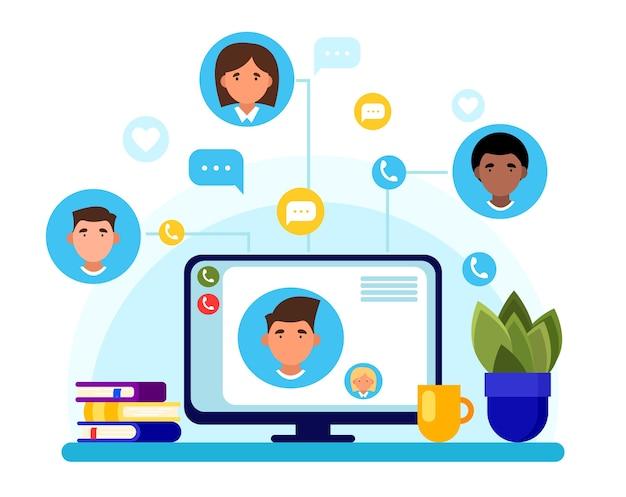 Social media kommunikationskonzept. chatten sie mit freunden auf einem computerbildschirm. freiberuflich. heimarbeit.