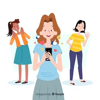 Social media kommunikationskonzept zu töten