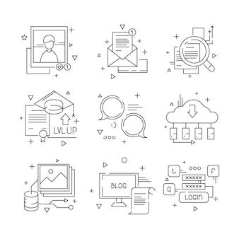 Social-media-kommunikationssymbol. web-media-befürwortungsgemeinschaftsgruppenpersonenleute, die linie symbole sprechen