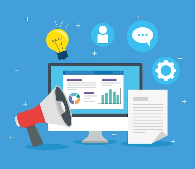 Social media-konzept, computer und megaphon mit ikonenillustrationsdesign