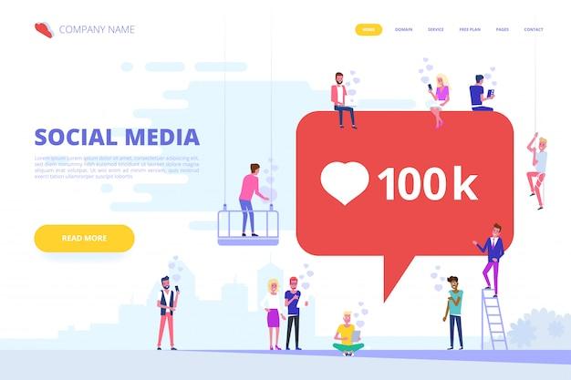 Social media-konzept für die website.