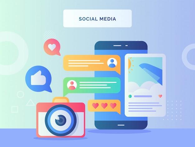 Social media konzept kamera fenster flugzeug bild vor smartphone hintergrund des feedback-kommentars wie mit flachem stil.