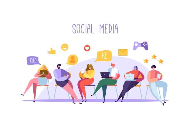 Social media-konzept mit charakteren, die auf gadgets chatten
