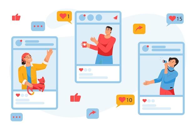 Social-media-konzept persönliche und geschäftliche blogs von menschen